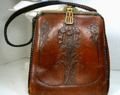 1900s MEEKER Art Nouveau Purse, Tooled Brown Leather Handbag, TURNLOC Closure, Brass Frame, WhipStitch Edges, Classic