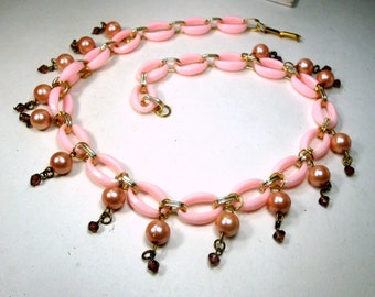 Pastel PINK  LUCITE and Gold Chain w Pearl Charm Dangles, Recycled Ecochic 1960s Components,  OOAK by Rachelle Starr