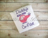 Daddy's Co-Pilot Onesie or Tshirt with Helicopter Applique for Girls