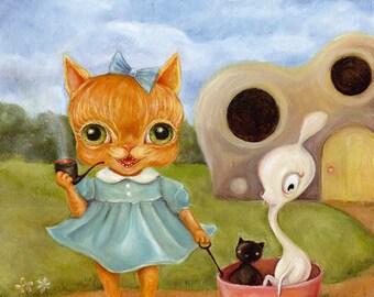 Big Eye Pipe Smoking Dressed Orange Cat print, cute monsters, Pop Surrealism, Childrens art