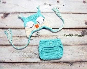 Newborn Baby Crochet Sleepy Owl Hat and Diaper Cover Set Aqua and Cream