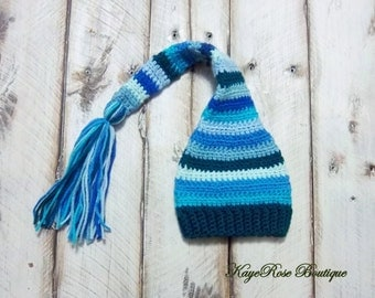 Newborn to 3 Month Old Baby Boy Stocking Cap Blue and Turquoise Stripes