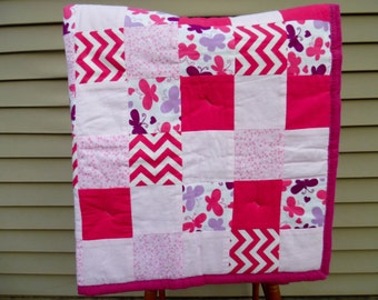 Baby Girl Quilt - Baby Quilt - Pink Crib Bedding - Butterfly Quilt - Handmade Baby Quilt - Toddler Bed Quilt - Pink Baby Bedding - OOAK