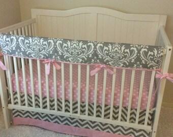 Bumperless Baby Girl Crib Bedding Set Pink And Gray Chevron