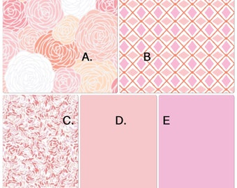 Peach Coral and Pink Crib Bedding Set Made to Order