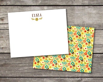 Personalized Set of 10 Yellow Floral Custom Notecards for Teacher Gift Coworker Gift Thank You Notes or Personal Stationery
