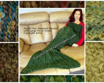 Green Mermaid Blanket Adult Teen Crocheted  Made To Order