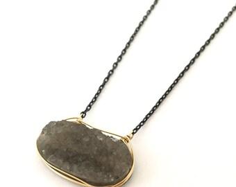 Drusy smoky quartz two tone necklace