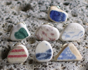 7 Genuine Sea Beach Pottery Sterling Silver Studs Post Earrings (755)