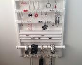 10% OFF FALL SALE, White Earring Holder Jewelry Organizer, 21  x 14, Elegant Deluxe, Ring Organizer, Bracelet Storage Necklace Rack