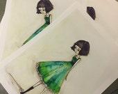 SALE print - 'Girl in green' 8.5x11 Matte Print - retired print