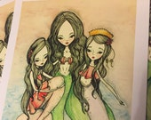 SALE print - 'Mermaid mother and daughters' 8.5x11 Matte Print - retired print