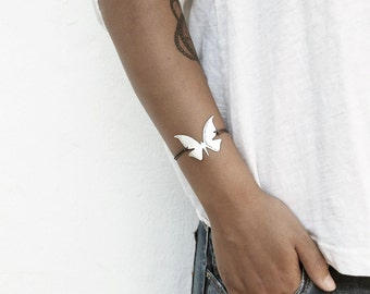 Modern Butterfly Bracelet in Brushed Sterling Silver with Custom Words