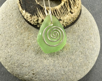 Gleaming sea foam natural Maine sea glass/beach glass necklace/pendant with a hand forged sterling silver spiral and silver chain