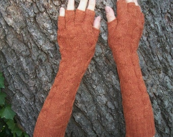 Alpaca blend finger-less  knitted  arm warmers with cable.12 colors available.  See pictures.You are my pumpkin.