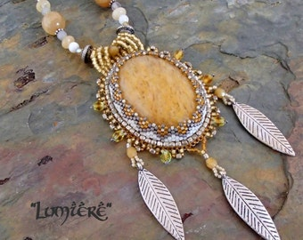 Lumiere - Bead Woven  Pendant Statement Necklace