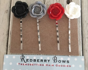 HAIR BOBBIES Resin Flowers Sets of 4-Three Color Sets-Free shipping with the purchase of another item