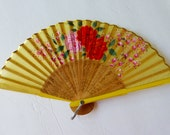 1960s Childs Japanese Silk Folding Fan with Hand Painted Flowers