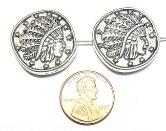 Two (2) Pewter Indian Head Coin-Style Beads
