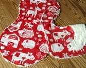 Burp Cloth and Bib Set for Baby, Chenille and Flannel, Farm, ready to ship
