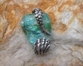 Dichroic glass with fine silver tentacle and sea shell necklace