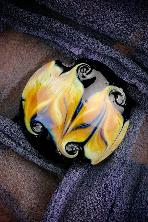 "Lampwork Glass Beads SRA ""Hephaestus"" Handmade Organic Lustre & Texture Silver Glass Lentil Focal"