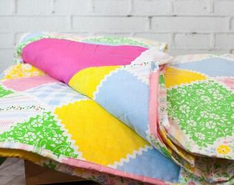 Pink Patchwork - Handmade Quilt - Girls Quilt - Twin Quilt - Patchwork Quilt - Original