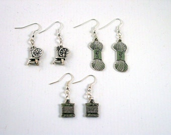 Knitters Earring Gift Set - Yarn Earrings - Spinning Wheel Earrings - Thread Earrings - Crafters Gift Set