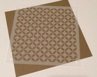 Square 5 inch stencil - Retro Pattern