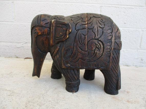 Vintage bali elephant wood carving sculpture relief carved