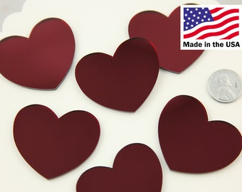 45mm Red Mirror Heart Resin or Acrylic Cabochons - 4 pc set