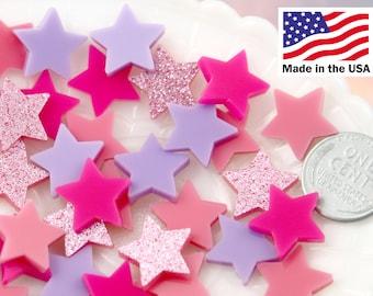 Plastic Stars - 15mm Mini Stars Pink Mix Resin or Acrylic Cabochons - 20 pc set