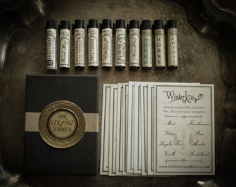 Deluxe Perfume Oil Sampler - mini variety set of botanical scents - For Strange Women - Natural Perfume Gift Set