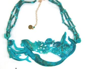 Mermaid Necklace with Sleeping Beauty Turquoise Beads Limited Edition Mermaid jewellery