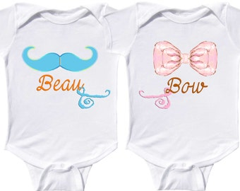 Funny Boy Girl Twin Rompers by Mumsy Goose  Newborn Twin Rompers to Kids Tees