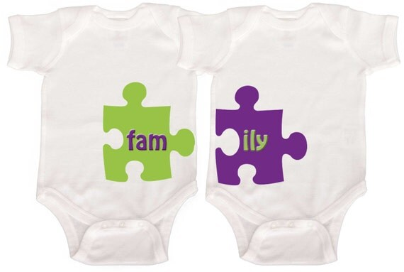 Funny Twin Rompers  by Mumsy Goose  Sibling Shirts Fraternal Twins Baby Bodysuits
