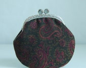 Paisley Challis Coin Purse Change Pouch with Metal Kiss Clasp Lock Frame - READY TO SHIP