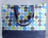 Spa Dots XL Extra Large BIG Tote Bag / Beach Bag - Ready to Ship