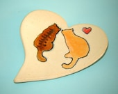 Painted Cat Dish – Spoon Rest – Ceramic Heart Plate – Trinket Dish – Handmade Stoneware Pottery – Gift for Pet Lover