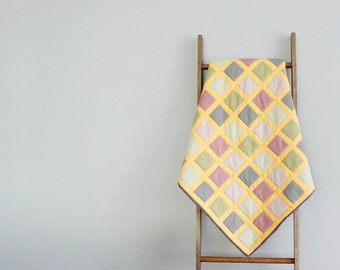 Custom Modern Baby Girl or Boy Quilt, Baby Blanket, Crib Quilt, Stroller Blanket - Modern Windowpane Design