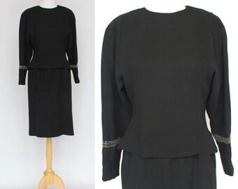 80's Black Peplum Dress / Wool Crepe / Albert Nipon / Small