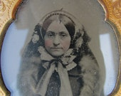 Antique Ambrotype Photograph of a Lovely Lady in Winter Bonnet