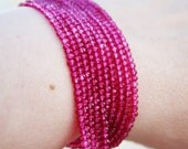 "Bright Rubellite Pink Tourmaline Quartz Micro Faceted Round Rondelle Beads 5.5"" strand"