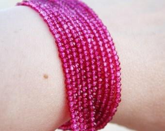 "Bright Rubellite Pink Tourmaline Quartz Micro Faceted Round Rondelle Beads 7"" strand"