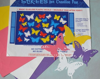 Vintage Stik-ees Butterflies Plastic Decal Window Clings 1987
