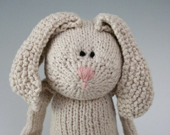 "Magnolia Rabbit - Organic Cotton Hand Knit Large Eco Friendly Stuffed Animal - Toy Bunny, 16"" tall"