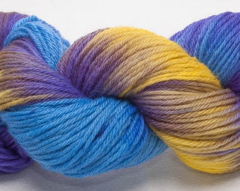 Hand dyed yarn, Bluefaced Leicester,  BFL yarn, Hand painted DK, yarn, Indie dyed, 100g skein, colour; Bejewelled