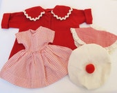 1950s Doll Clothes Red Coat Dress Collar Shawl Hat Toboggan Rayon Flannel Cotton Fabric Mid Century Toys Dolls