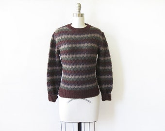 brown striped sweater, vintage 80s pointelle knit sweater, cozy medium pullover sweater