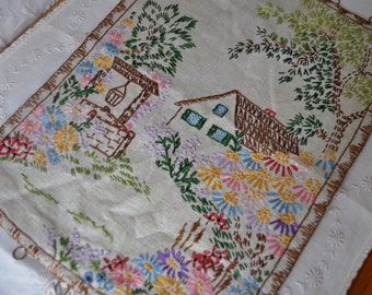 Vintage Country Cottage Embroidered Picture/Vintage 1970s/Cottage Garden Tableau/Fabric Backed With Hooks for Hanging